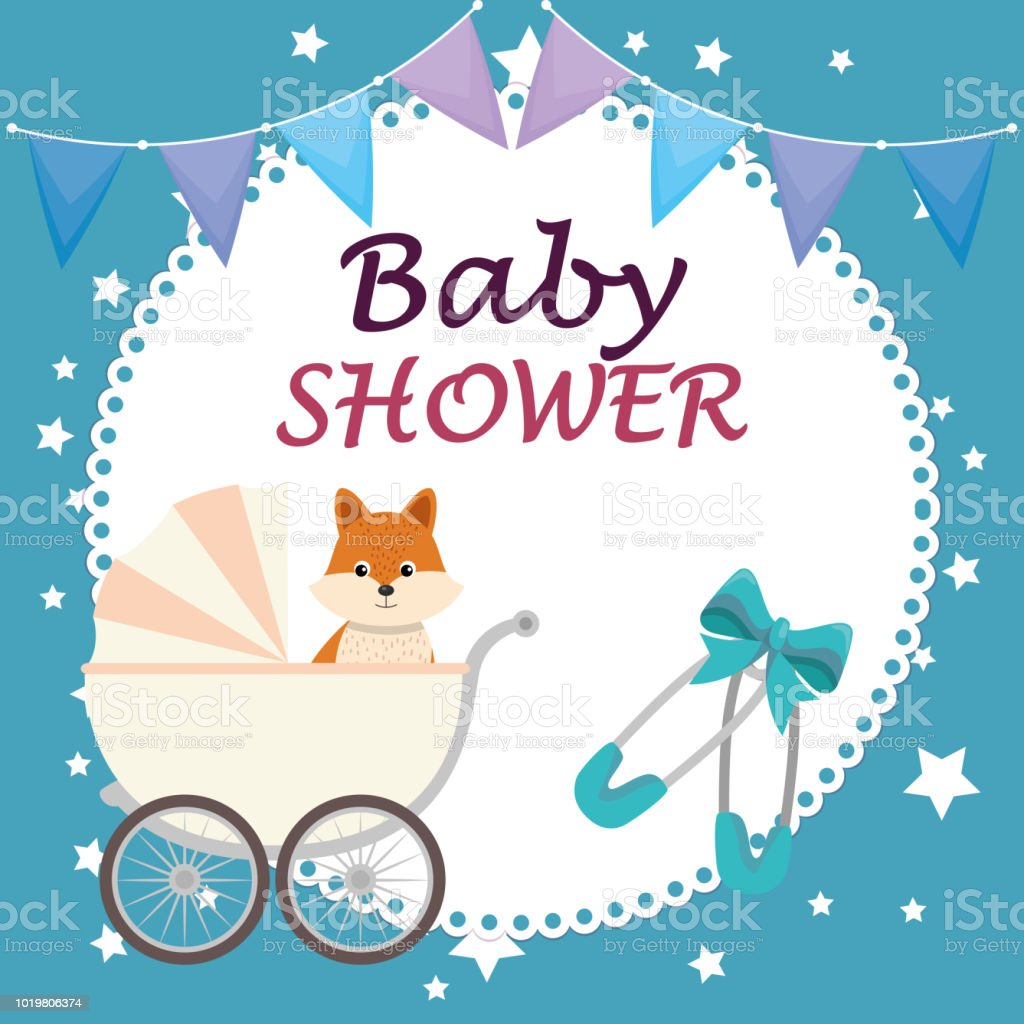 Baby Shower Card With Cute Fox Stock Vector Art More Images Of