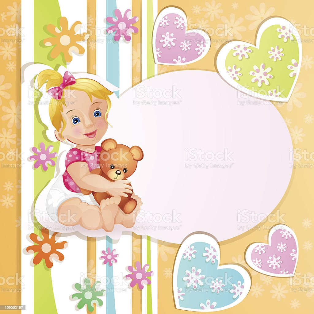 Baby shower card with cute little girl. royalty-free stock vector art