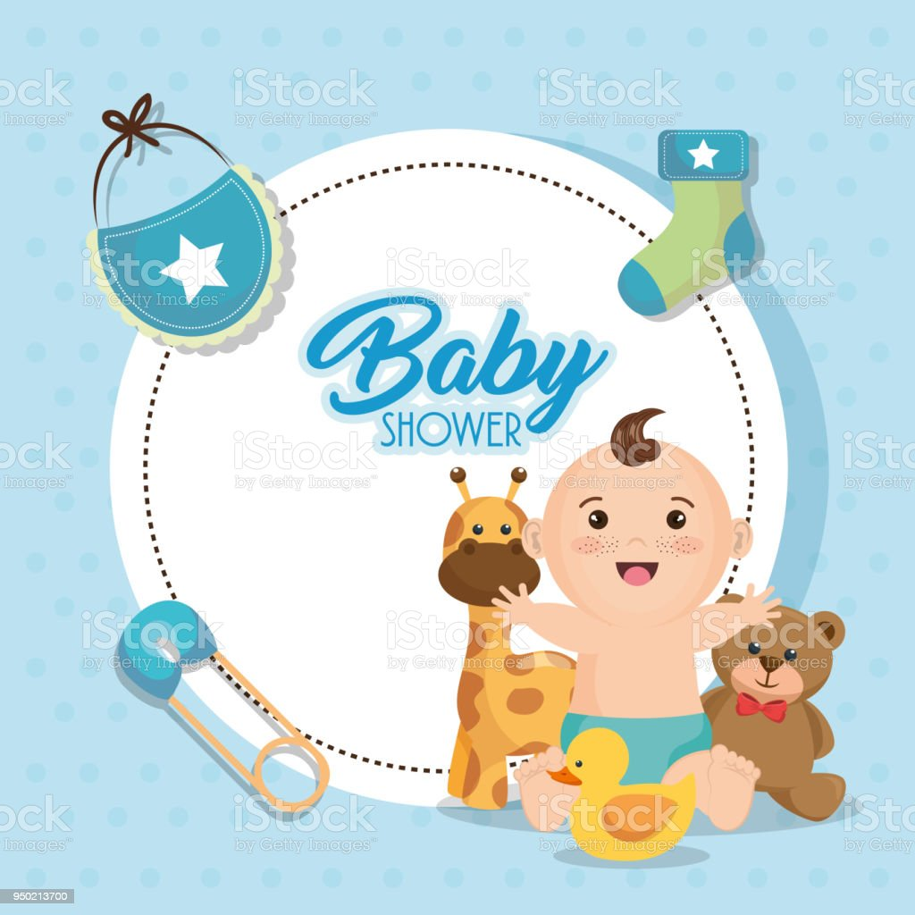 Baby Shower Card With Little Boy Stock Vector Art More Images Of