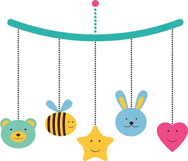 ilustrações, clipart, desenhos animados e ícones de chegada ou cartão do chuveiro de bebê - mobile