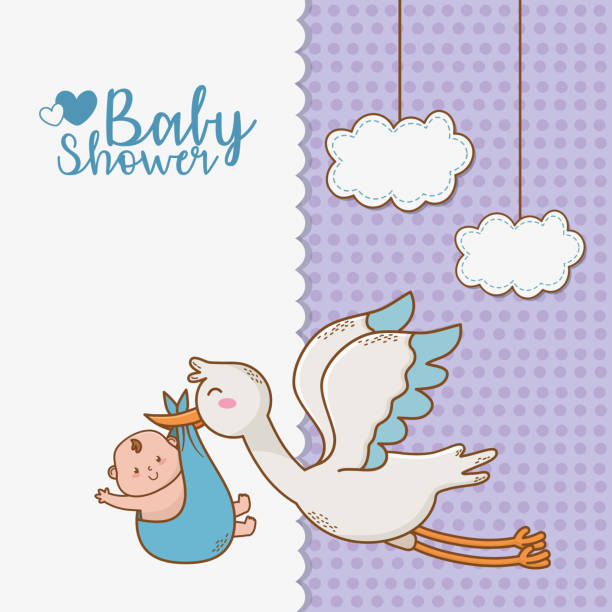 baby shower card with stork baby shower card with stork vector illustration design baby shower stock illustrations