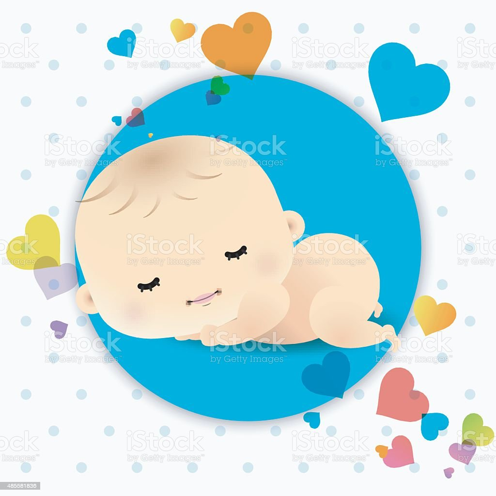 Baby Shower Card With Sweet Sleeping Newborn Baby Stock Vector Art