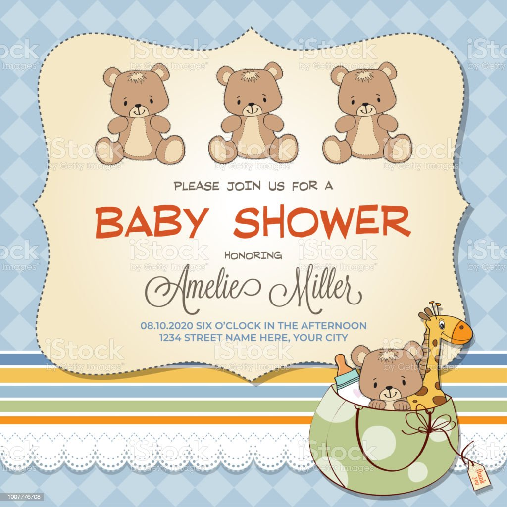 Baby Shower Card With Teddy Bears Stock Vector Art More Images Of
