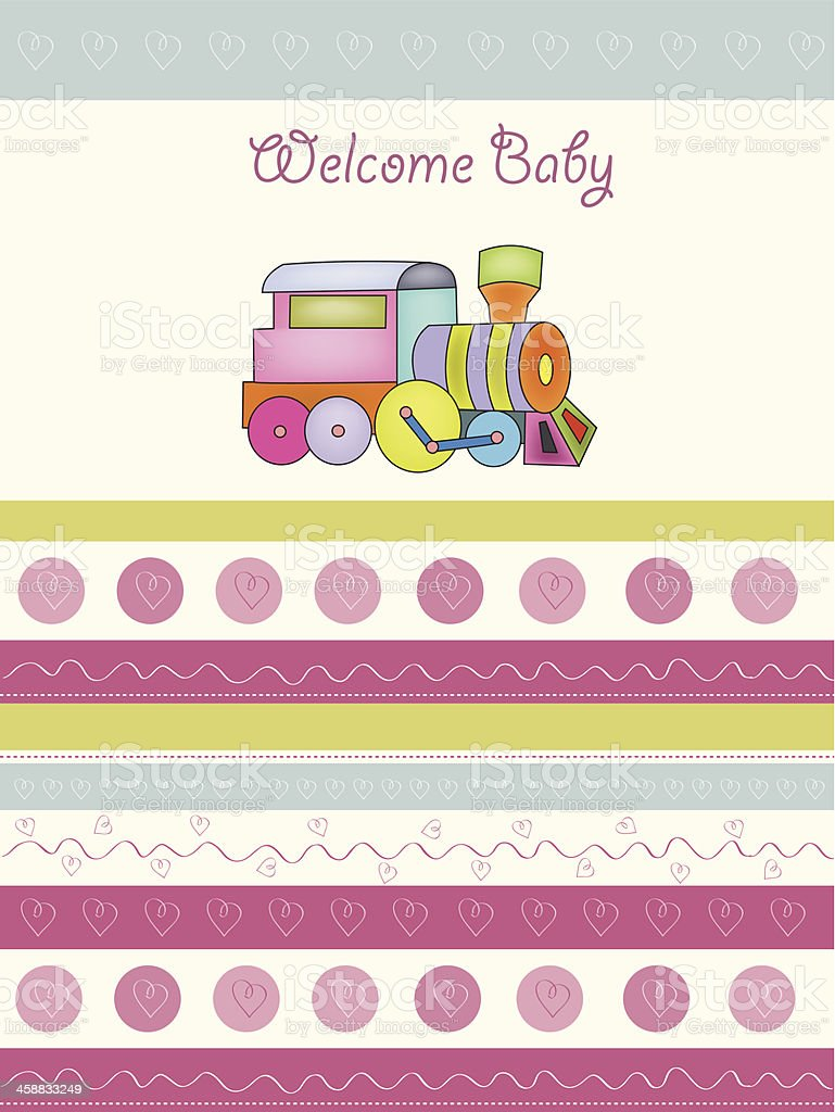 baby  shower card with toy train royalty-free baby shower card with toy train stock vector art & more images of accuracy