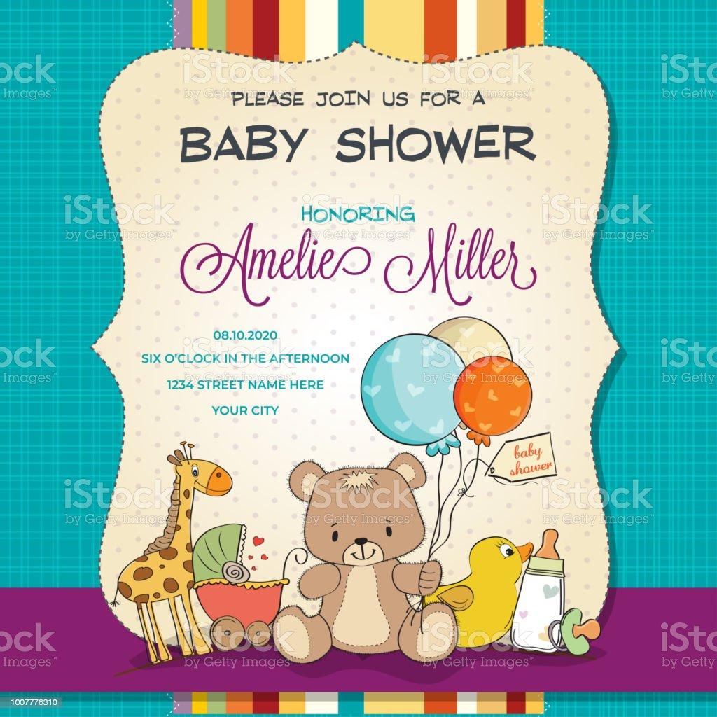 おもちゃとベビー シャワー カード ベクターアートイラスト