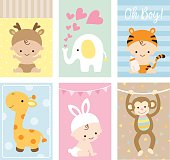 Vector illustration of baby shower greeting card and invitation set in cute animal theme.