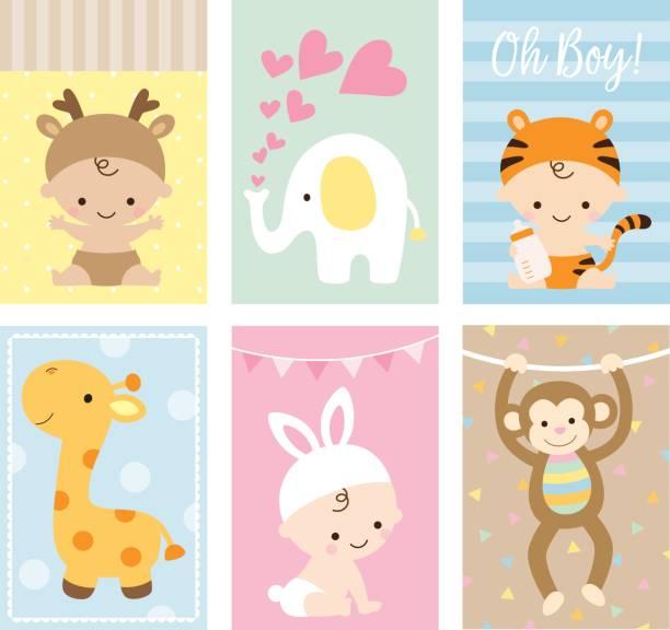 baby karten tierthema brauseset - giraffenkostüm stock-grafiken, -clipart, -cartoons und -symbole