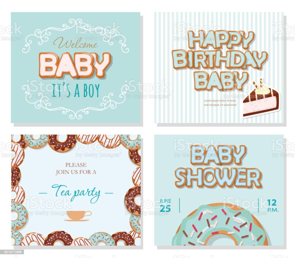 Babyduschekarten Set Für Jungen Süße Vorlagen In Pastellblau Stock ...