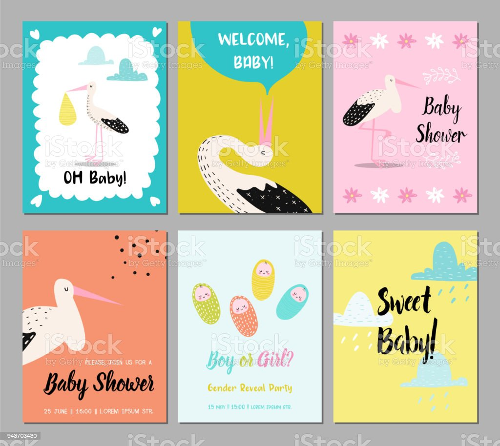 baby shower cards set newborn child invitation congratulation poster