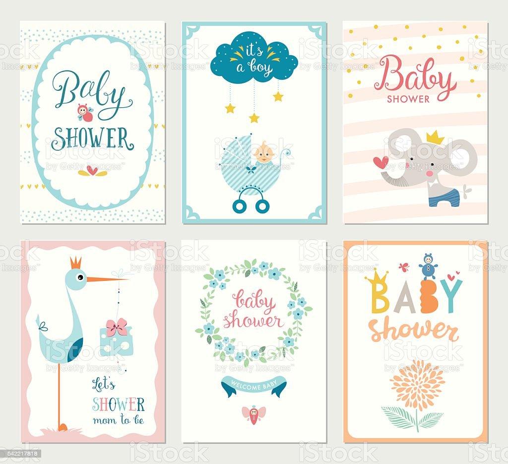 Conjunto de cartões do chuveiro de bebê - ilustração de arte em vetor