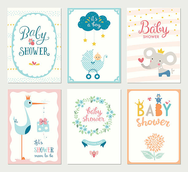 baby shower cards set - baby shower stock illustrations, clip art, cartoons, & icons