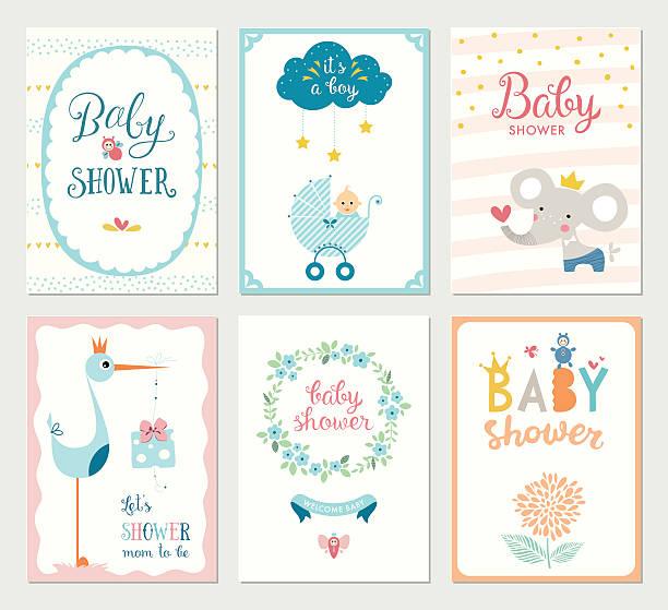 Baby Shower Cards Set vector art illustration