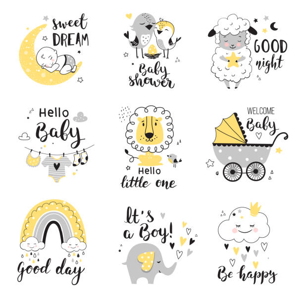 Baby Shower cards. Baby Shower card design with cute elephant, little lion and lamb.   Nursery prints for invitations, greeting cards, kids and baby t-shirts and wear. Hand drawn vector illustration. baby shower stock illustrations