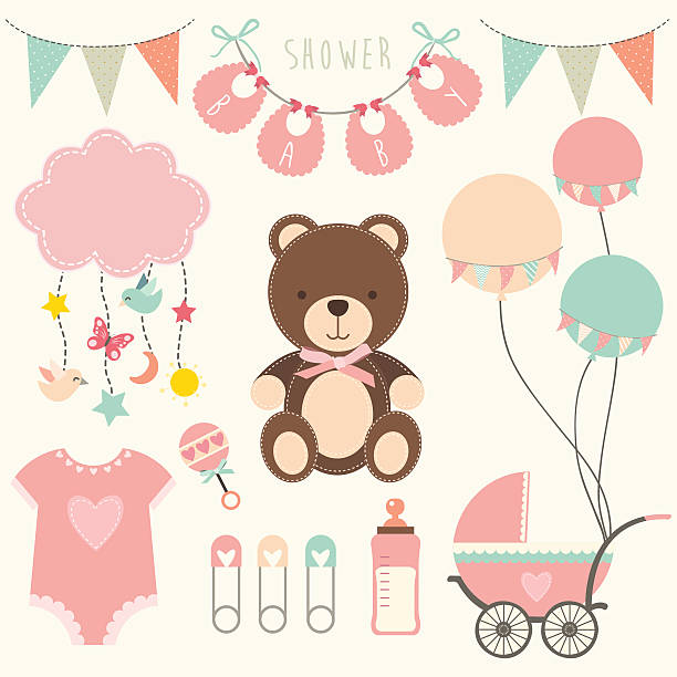 Baby Shower Collections 2- illustration - ilustración de arte vectorial