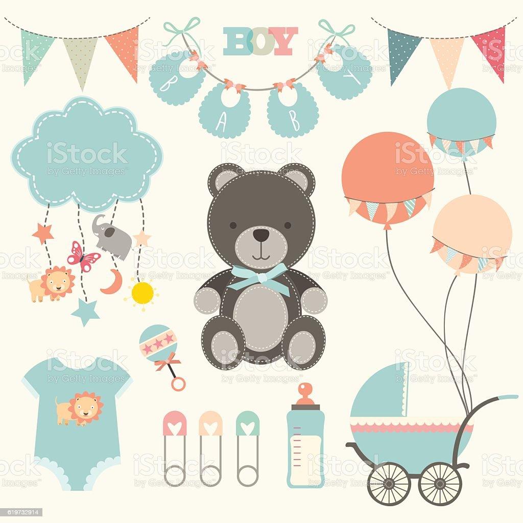 baby shower collections illustration おむつのベクターアート素材や
