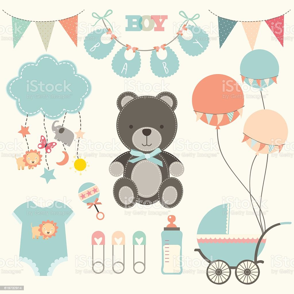 Baby Shower Collections- illustration vector art illustration