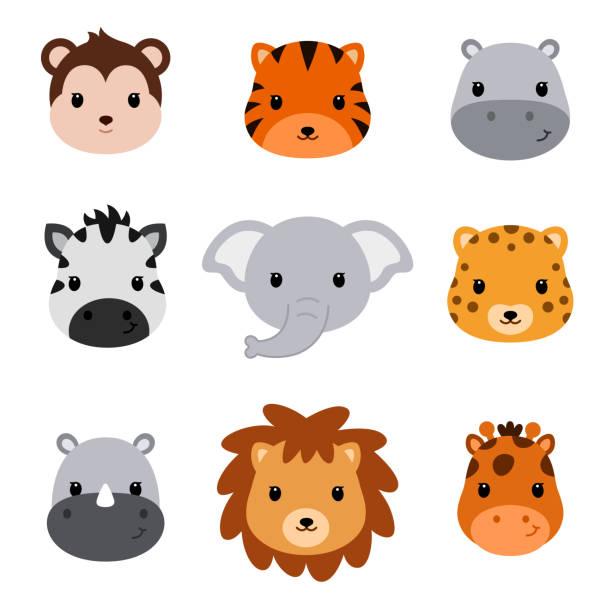 シャワーかわいいサファリ動物の赤ちゃん。9 動物の頭のセットです。 - 哺乳類点のイラスト素材/クリップアート素材/マンガ素材/アイコン素材