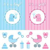 Baby shower design elements. Cute cartoon baby elephant on elegant background, toys and newborn items. Boy and girl version.