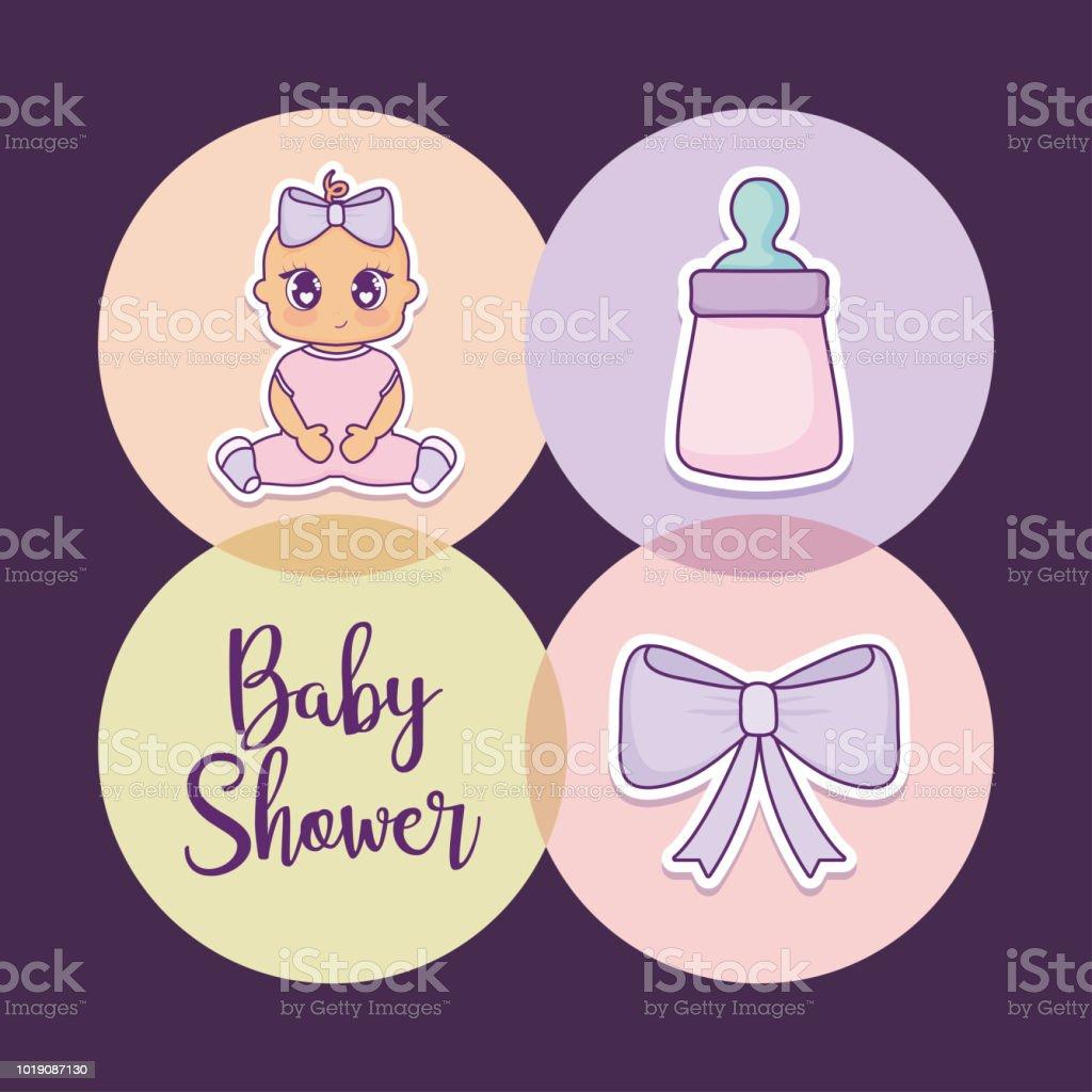 赤ちゃんシャワー デザイン ベクトル小話アイコン赤ちゃん女の子