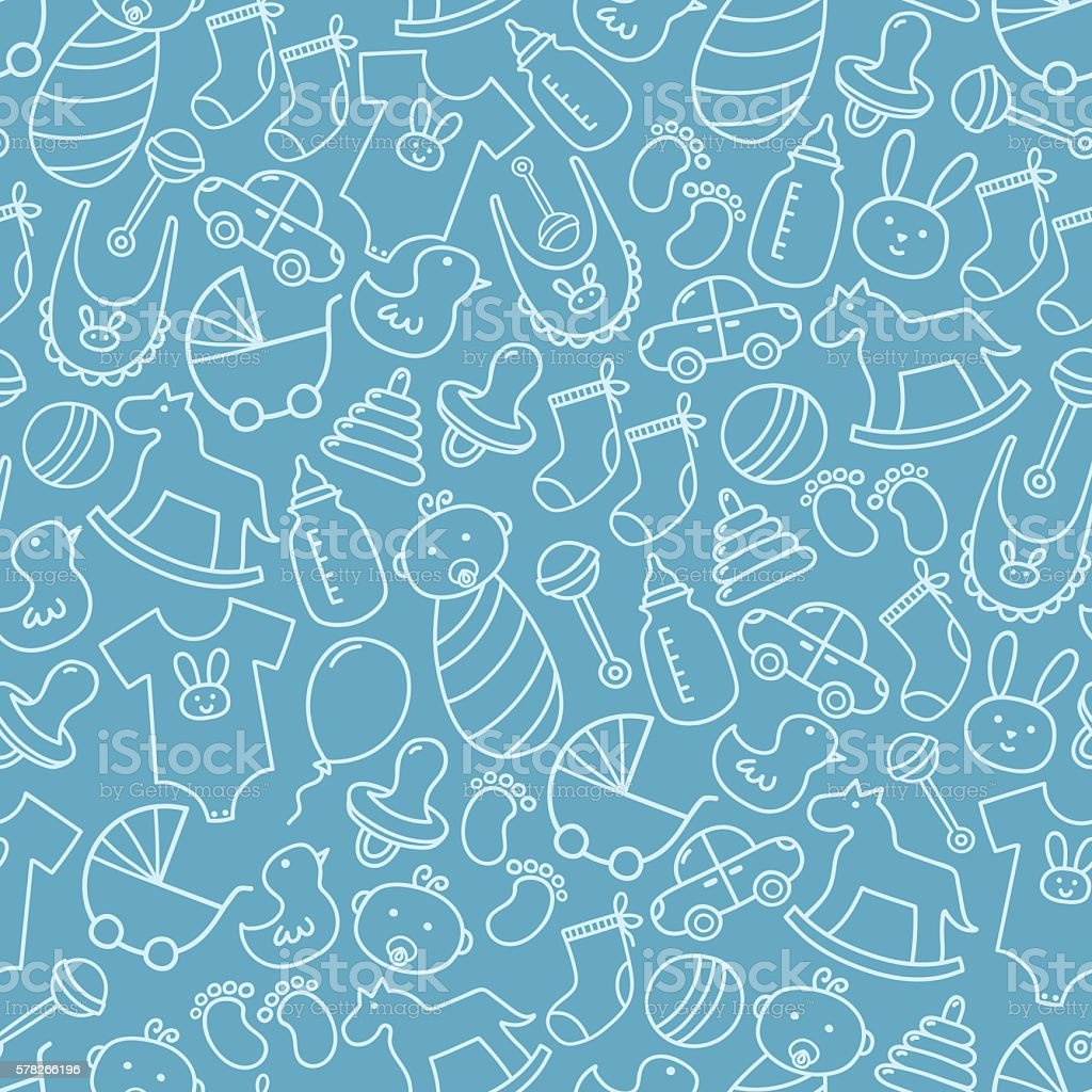 Baby Shower Doodle Seamless Pattern Blue Background Stock