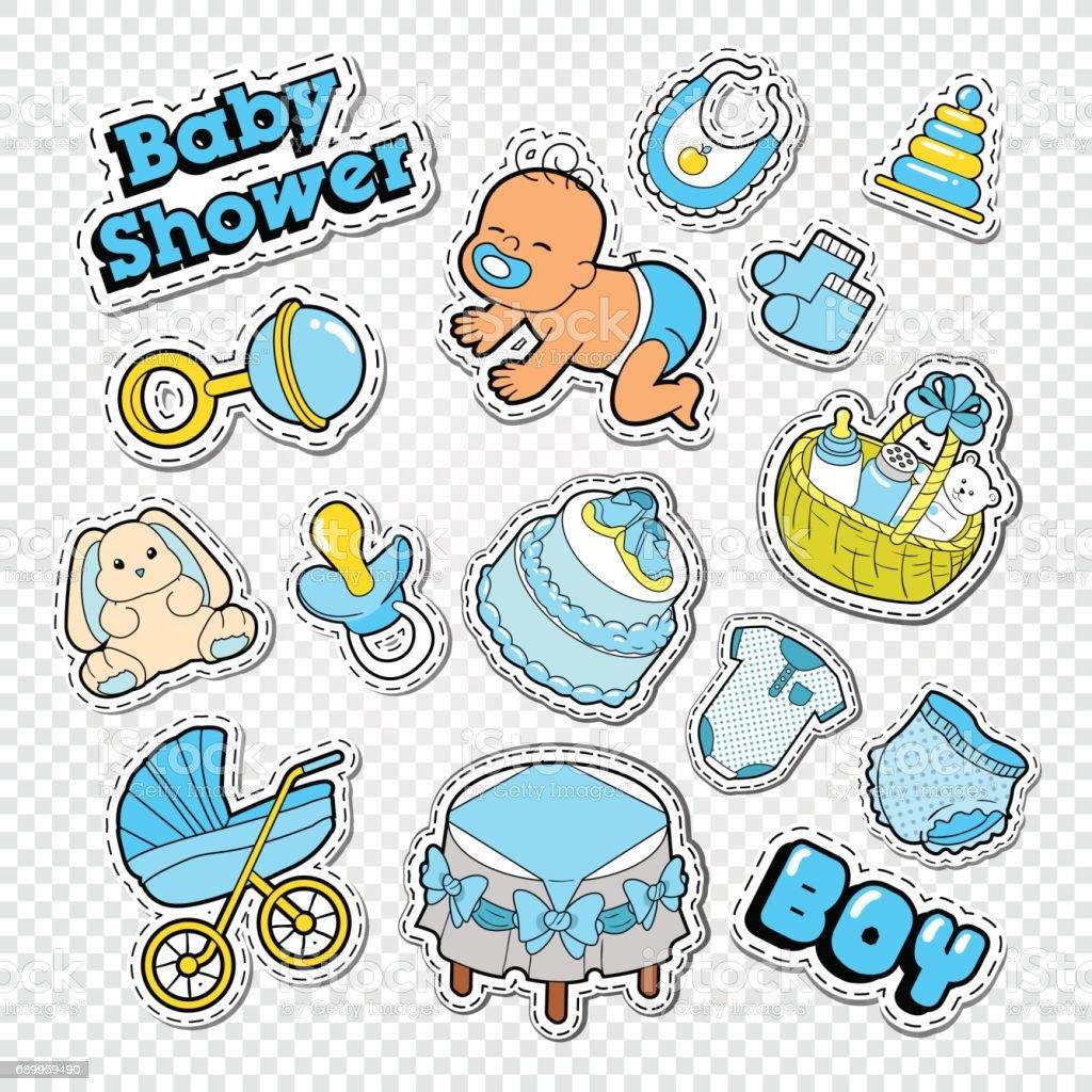 Baby Douche Doodle Met Jongen Speelgoed Stockvectorkunst En Meer