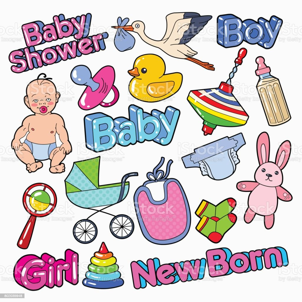 Baby Shower Doodle With Newborn Toys And Stork Party Decoration