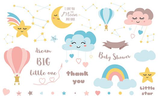 Baby shower elements Cute design element for nursery Moon cloud star rainbow ribbon icon vector set