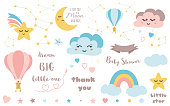 Baby shower elements Cute design element for nursery Moon cloud star rainbow hot air balloon ribbon Big Bear constellation Baby icon vector set Colorful illustration to design card banner invitation.