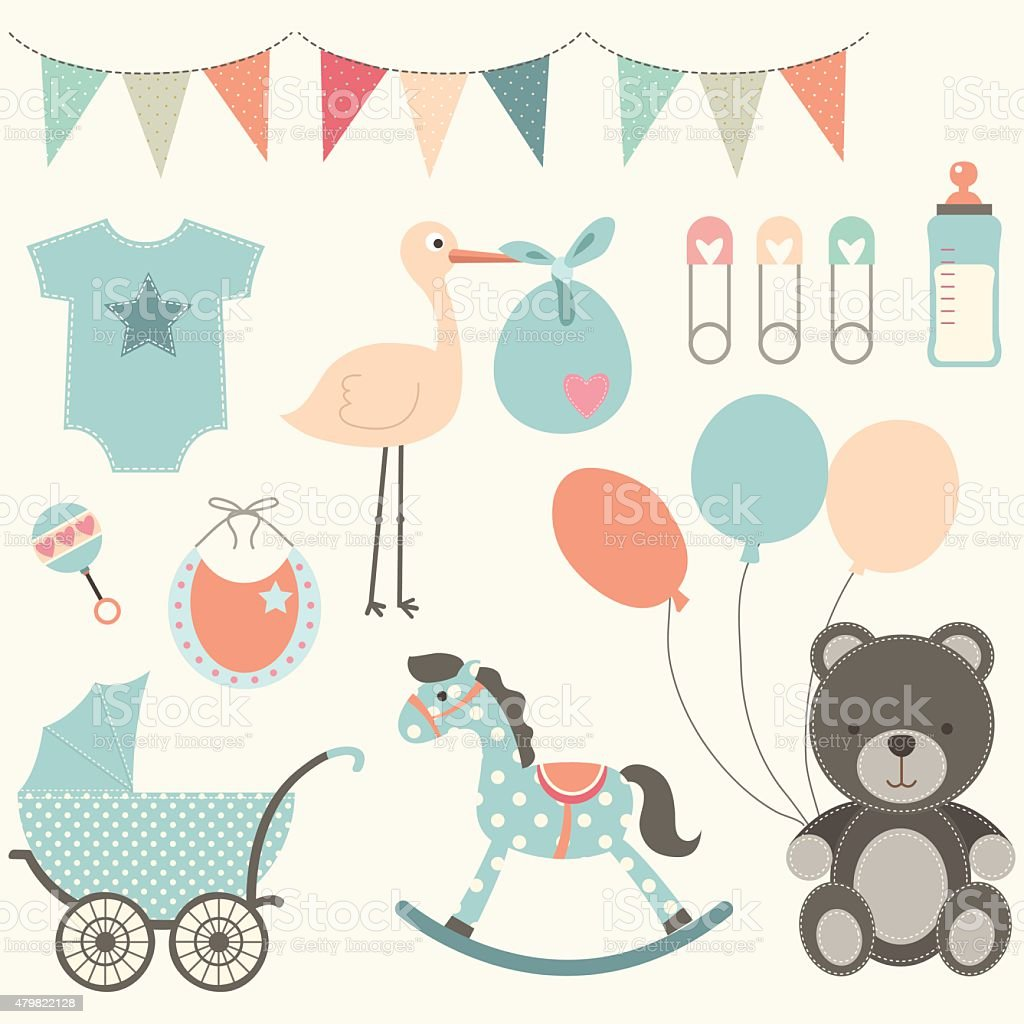 Baby Shower Elements Stock Vector Art & More Images of ...