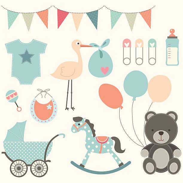 ilustraciones, imágenes clip art, dibujos animados e iconos de stock de elementos de fiesta prenatal - baby shower