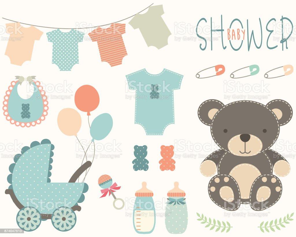 Baby Shower Elements vector art illustration
