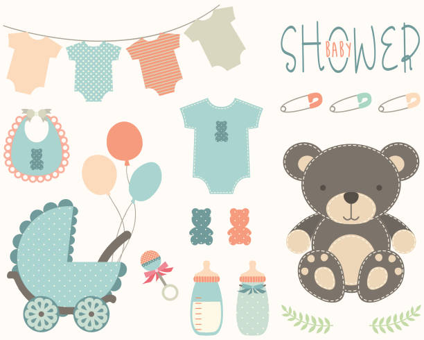 Baby Shower Elements A vector illustration of Baby Shower Elements. Perfect for invitations, blog, web design, graphic design,embroidery, scrapbooking, scrapbook elements, papers, card making, stationery, paper crafts and so much more! baby clothing stock illustrations