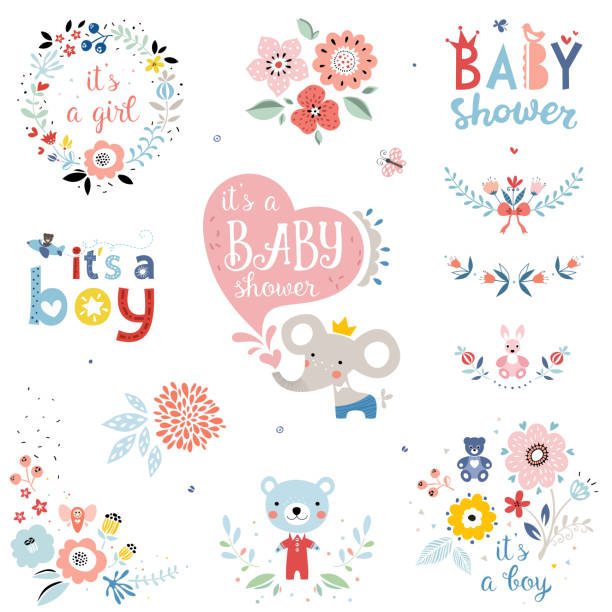 Baby Shower Elements_01 Baby Shower design elements and items. Vector set. it's a girl stock illustrations