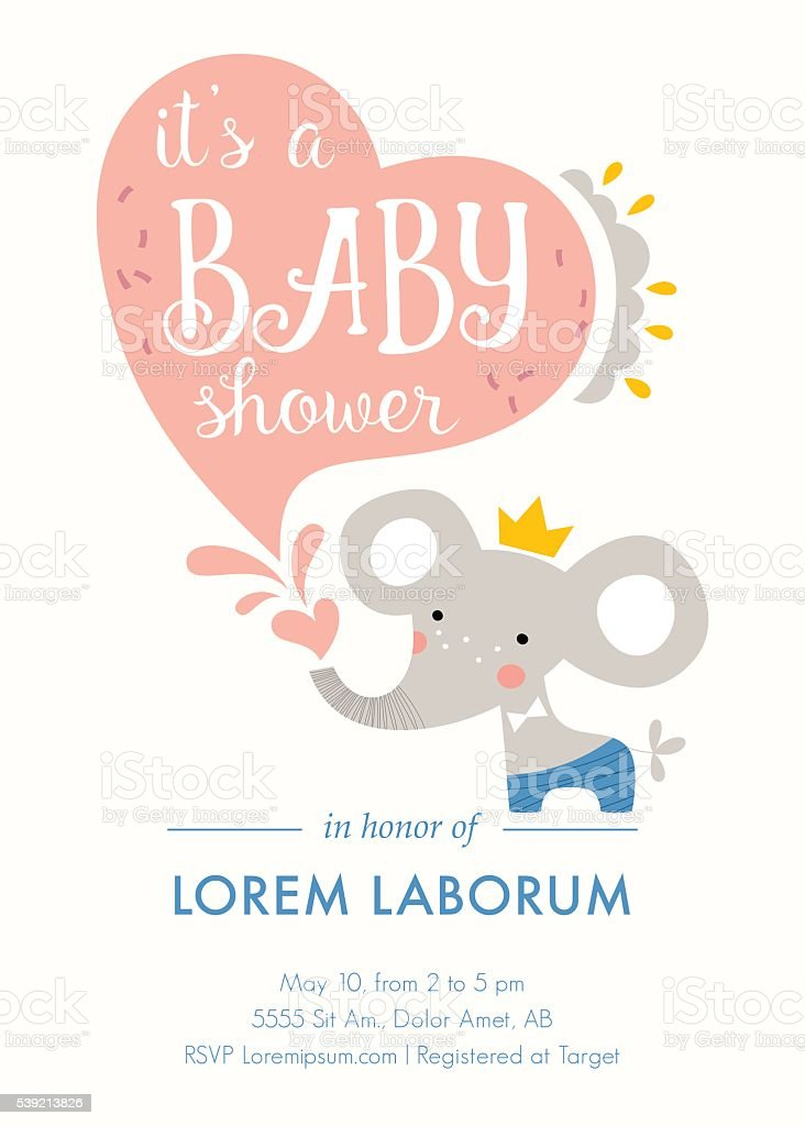 Baby Shower Elephant Card vector art illustration