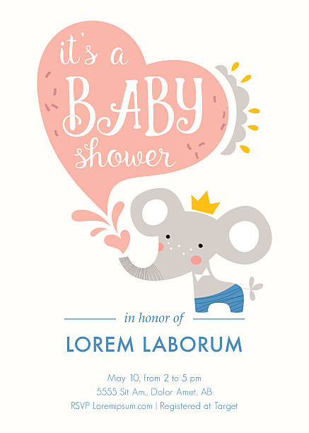 ilustraciones, imágenes clip art, dibujos animados e iconos de stock de elefante baby shower tarjeta - baby shower