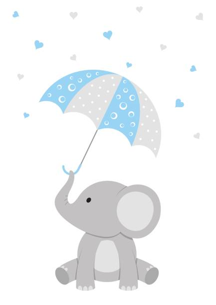 baby shower elephant design - chłopcy stock illustrations