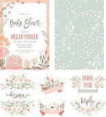 Baby Shower invitation templates with floral and typographic design elements. Menu, Thank Your,Reception Card, seamless pattern and banners. Vector illustration.