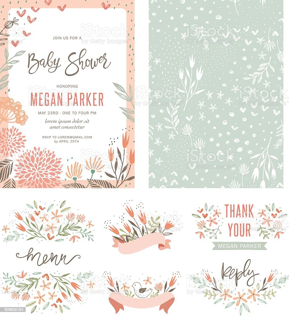 Baby Shower Floral Set vector art illustration
