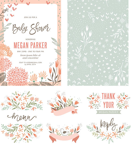 baby shower floral set - baby party stock-grafiken, -clipart, -cartoons und -symbole
