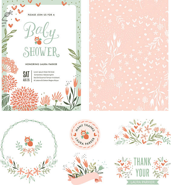 baby shower floral set - baby shower stock illustrations, clip art, cartoons, & icons