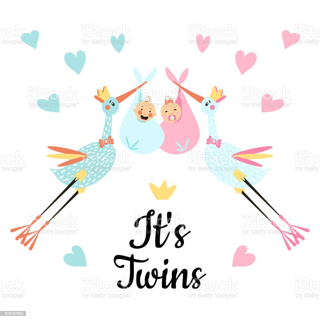 Baby Shower For Twins Stock Vector Art More Images Of Arrival