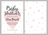 Baby shower girl and boy invitations, vector templates. Shower pastel cards with hearts and hand drawn text on white background