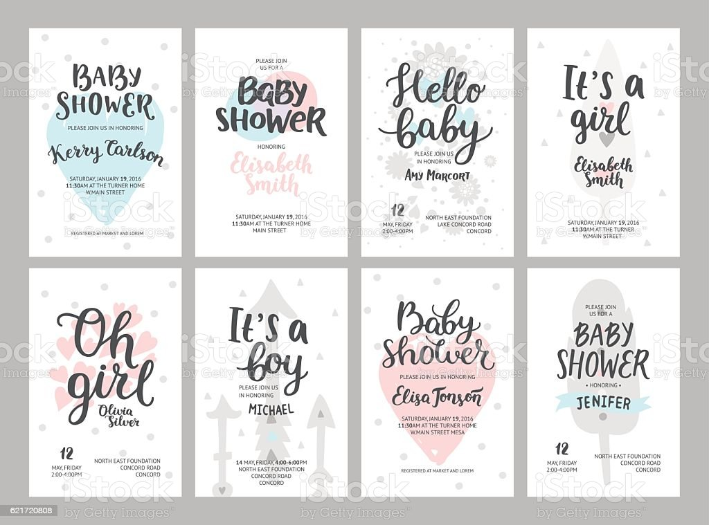 Baby shower girl and boy posters – Vektorgrafik