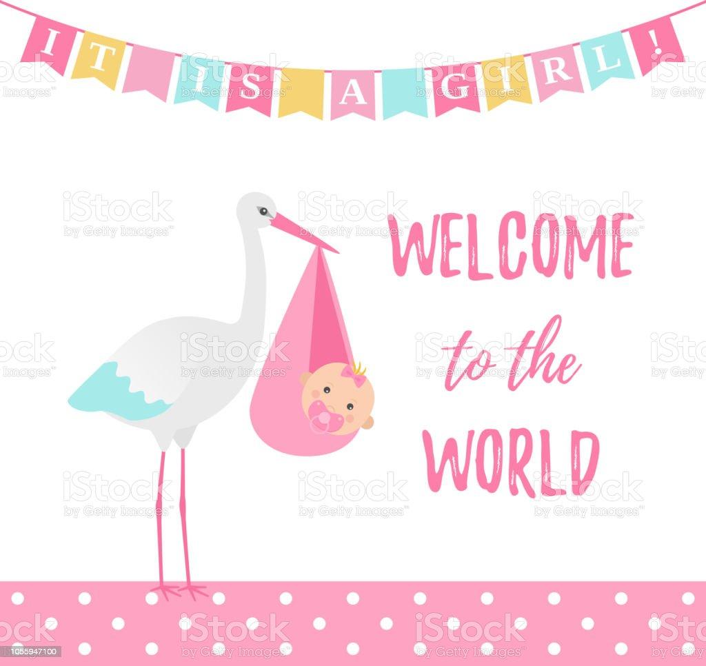 baby shower girl card vector illustration pink banner with stork