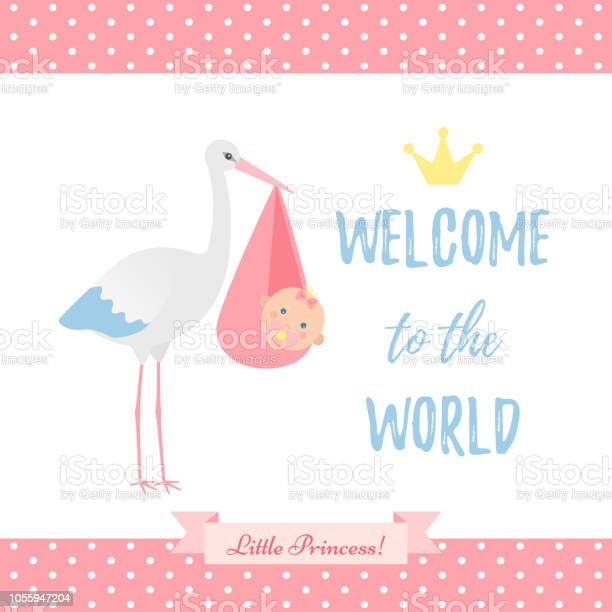 Baby shower girl card vector illustration pink banner with stork vector id1055947204?b=1&k=6&m=1055947204&s=612x612&h=agdzd9fjvswsc aamo2euc1gka3csfi 5g1doo of2o=