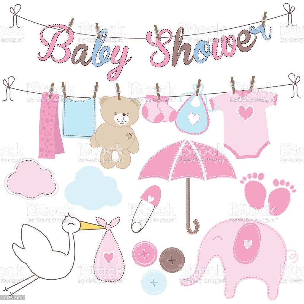 Baby Shower Girl Elements vector art illustration