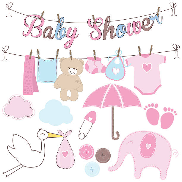 Baby Shower Girl Elements Vector set of baby shower for baby girl baby clothing stock illustrations
