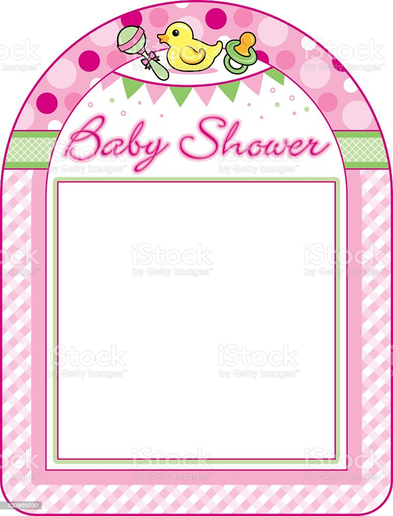Baby Shower Girl Frame Print Sheet Stock Vector Art & More Images of ...