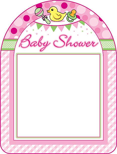 Baby shower girl frame print sheet vector art illustration