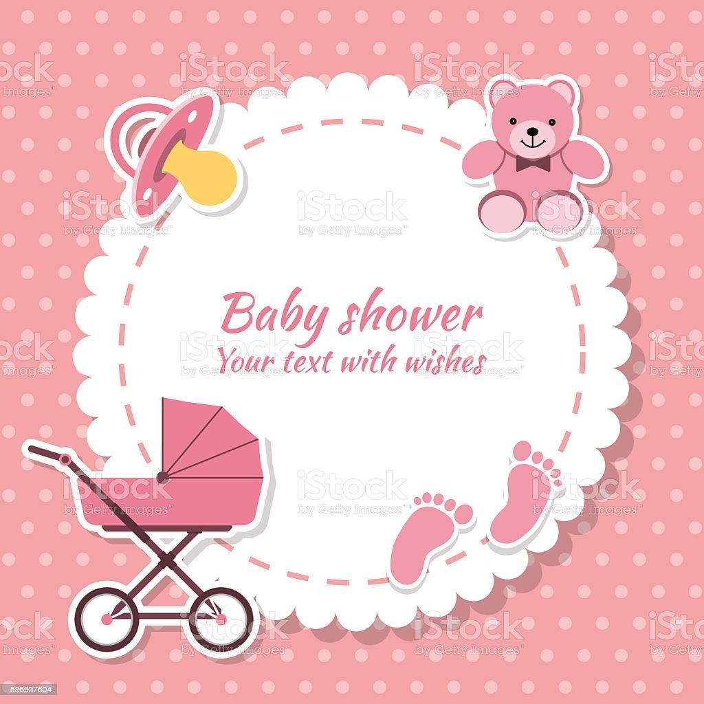 Baby Shower Girl Invitation Card Stockowe Grafiki
